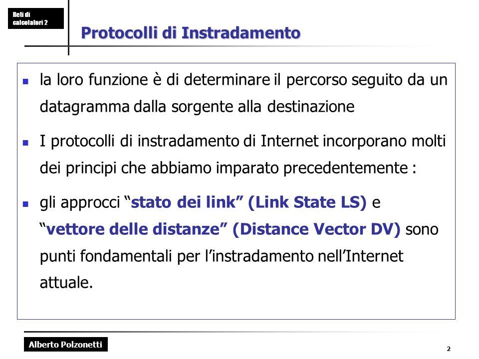 Alberto Polzonetti Reti di calcolatori 2 2 Protocolli di Instradamento la loro funzione è di determinare il percorso seguito da un datagramma dalla so