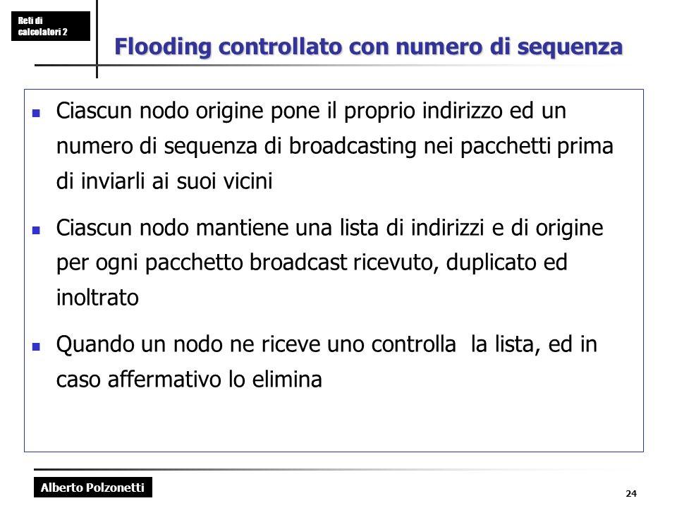 Alberto Polzonetti Reti di calcolatori 2 24 Flooding controllato con numero di sequenza Ciascun nodo origine pone il proprio indirizzo ed un numero di