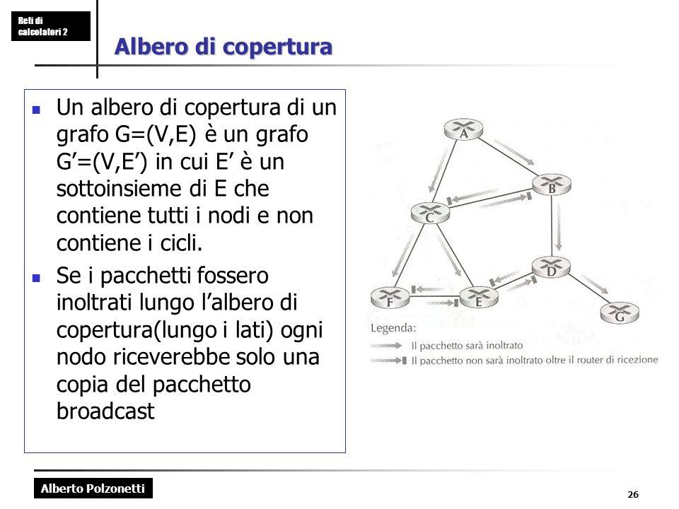 Alberto Polzonetti Reti di calcolatori 2 26 Albero di copertura Un albero di copertura di un grafo G=(V,E) è un grafo G=(V,E) in cui E è un sottoinsieme di E che contiene tutti i nodi e non contiene i cicli.