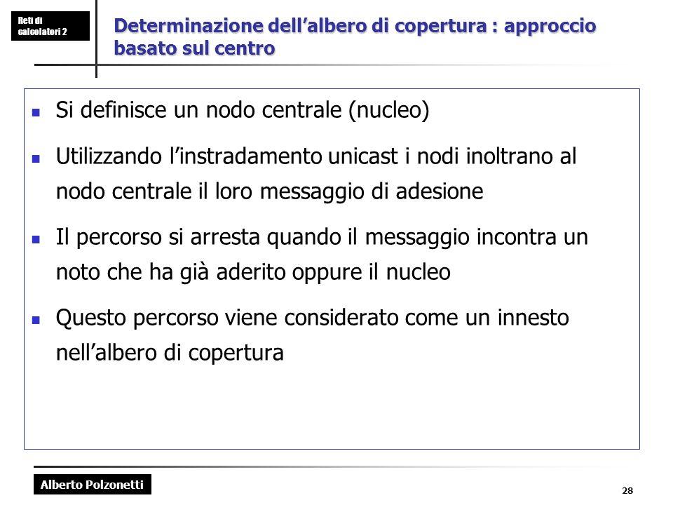 Alberto Polzonetti Reti di calcolatori 2 28 Determinazione dellalbero di copertura : approccio basato sul centro Si definisce un nodo centrale (nucleo