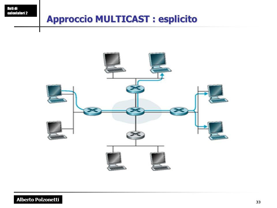Alberto Polzonetti Reti di calcolatori 2 33 Approccio MULTICAST : esplicito