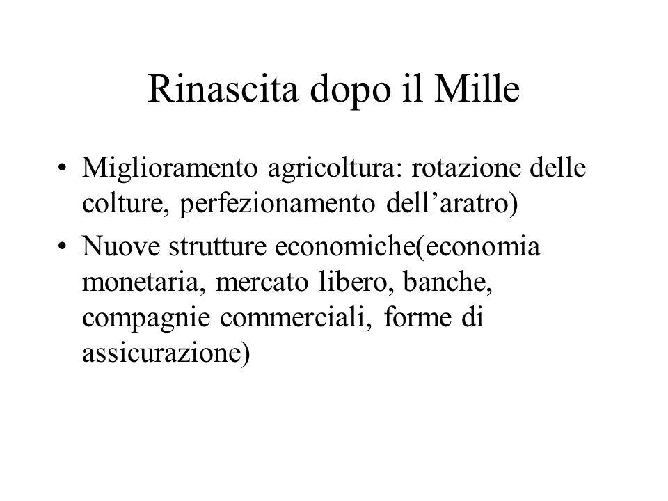 Rinascita dopo il Mille Miglioramento agricoltura: rotazione delle colture, perfezionamento dellaratro) Nuove strutture economiche(economia monetaria,