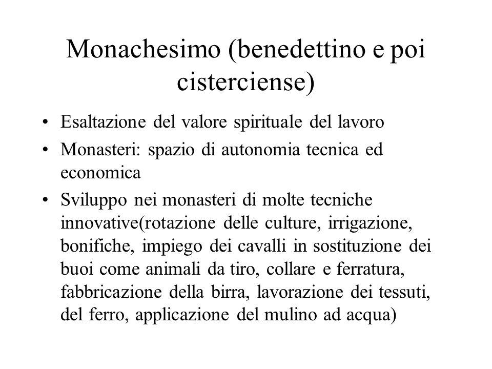 Monachesimo (benedettino e poi cisterciense) Esaltazione del valore spirituale del lavoro Monasteri: spazio di autonomia tecnica ed economica Sviluppo