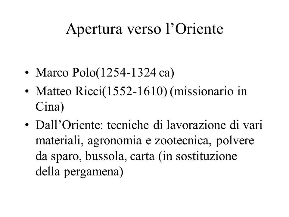 Apertura verso lOriente Marco Polo(1254-1324 ca) Matteo Ricci(1552-1610) (missionario in Cina) DallOriente: tecniche di lavorazione di vari materiali,