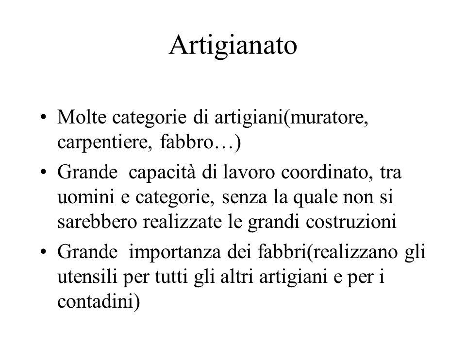Artigianato Molte categorie di artigiani(muratore, carpentiere, fabbro…) Grande capacità di lavoro coordinato, tra uomini e categorie, senza la quale