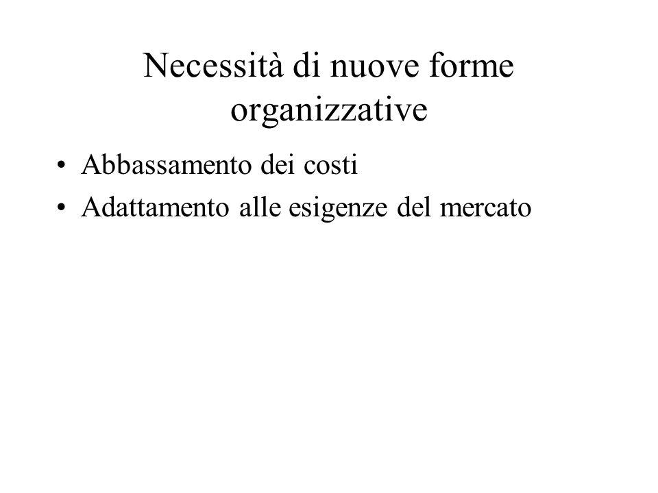 Necessità di nuove forme organizzative Abbassamento dei costi Adattamento alle esigenze del mercato