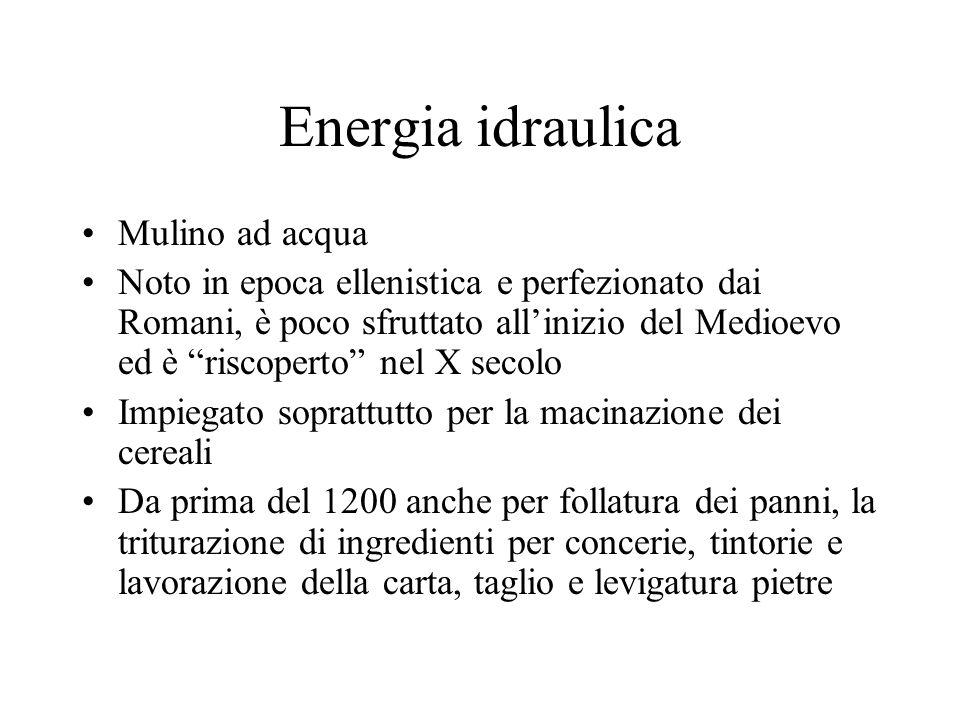Energia idraulica Mulino ad acqua Noto in epoca ellenistica e perfezionato dai Romani, è poco sfruttato allinizio del Medioevo ed è riscoperto nel X s
