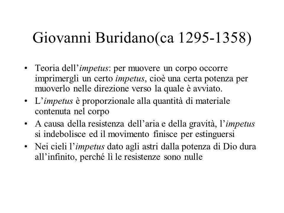 Giovanni Buridano(ca 1295-1358) Teoria dellimpetus: per muovere un corpo occorre imprimergli un certo impetus, cioè una certa potenza per muoverlo nel