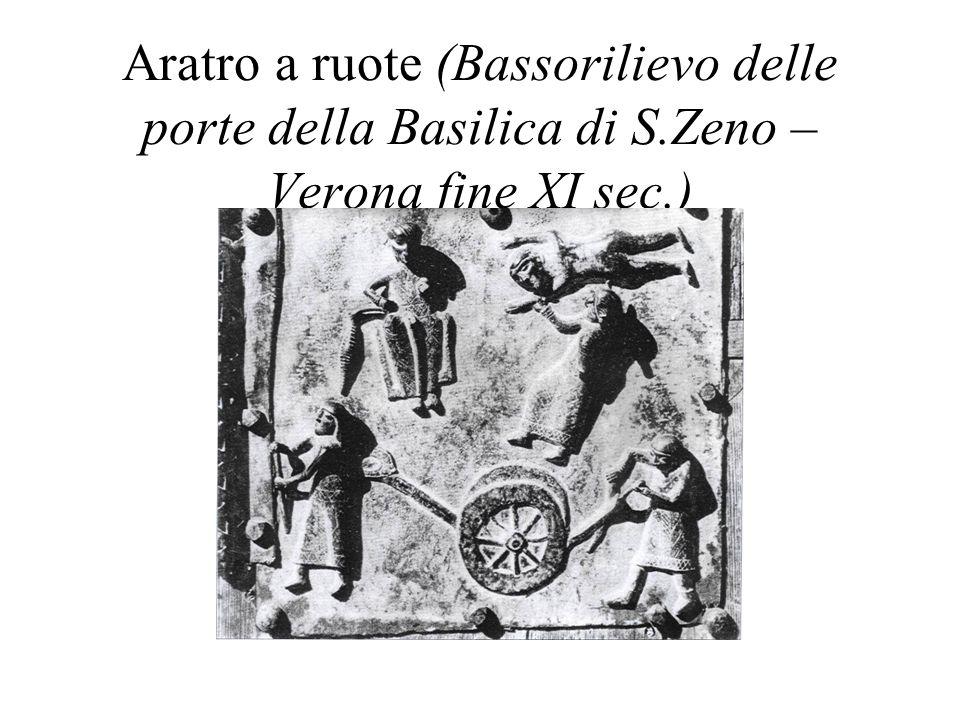Aratro a ruote (Bassorilievo delle porte della Basilica di S.Zeno – Verona fine XI sec.)