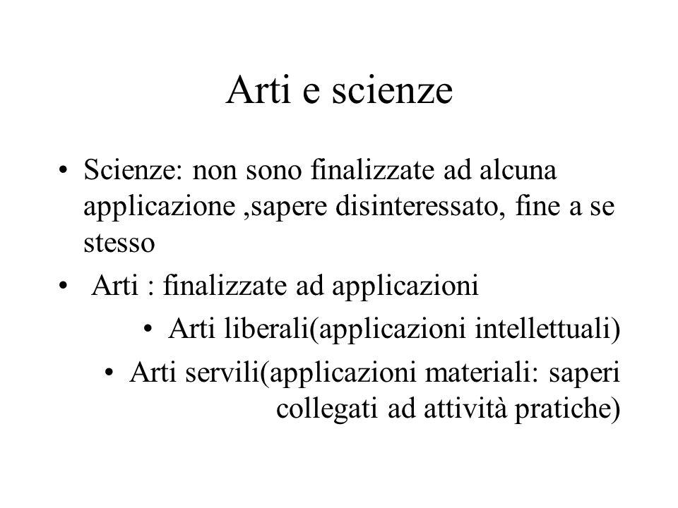 Arti e scienze Scienze: non sono finalizzate ad alcuna applicazione,sapere disinteressato, fine a se stesso Arti : finalizzate ad applicazioni Arti li