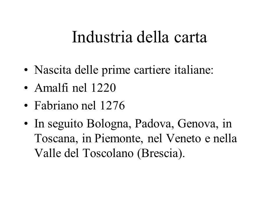 Industria della carta Nascita delle prime cartiere italiane: Amalfi nel 1220 Fabriano nel 1276 In seguito Bologna, Padova, Genova, in Toscana, in Piem