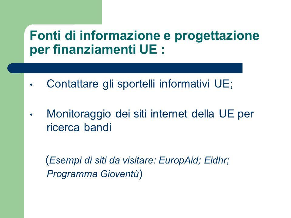 Fonti di informazione e progettazione per finanziamenti UE : Contattare gli sportelli informativi UE; Monitoraggio dei siti internet della UE per ricerca bandi ( Esempi di siti da visitare: EuropAid; Eidhr; Programma Gioventù )