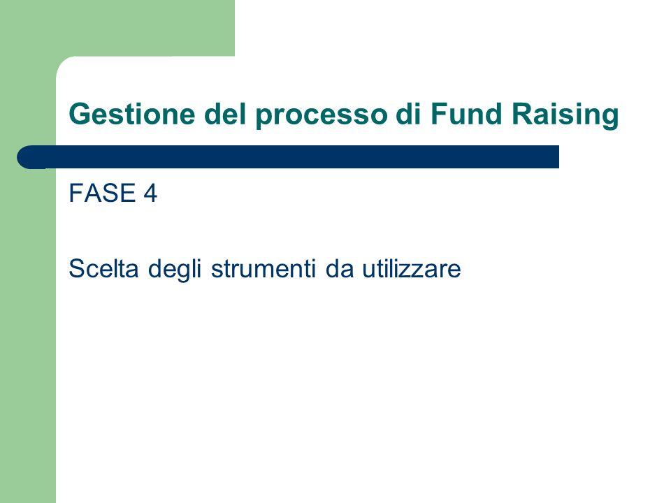 Gestione del processo di Fund Raising FASE 4 Scelta degli strumenti da utilizzare