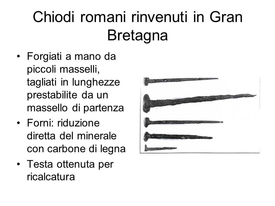 Chiodi romani rinvenuti in Gran Bretagna Forgiati a mano da piccoli masselli, tagliati in lunghezze prestabilite da un massello di partenza Forni: rid