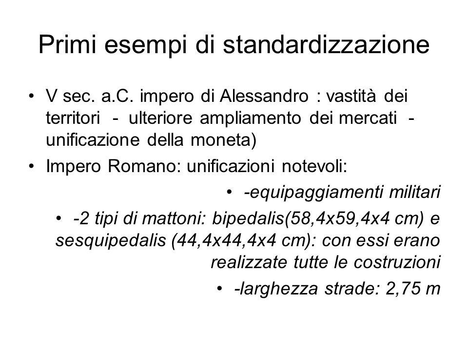 Primi esempi di standardizzazione V sec. a.C. impero di Alessandro : vastità dei territori - ulteriore ampliamento dei mercati - unificazione della mo