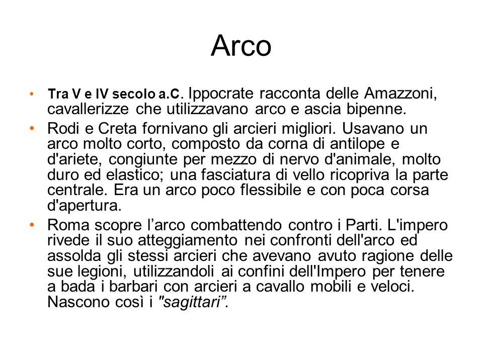 Arco Tra V e IV secolo a.C. Ippocrate racconta delle Amazzoni, cavallerizze che utilizzavano arco e ascia bipenne. Rodi e Creta fornivano gli arcieri