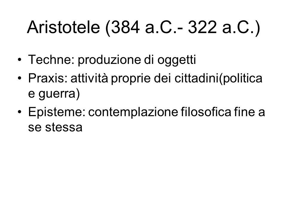 Aristotele (384 a.C.- 322 a.C.) Techne: produzione di oggetti Praxis: attività proprie dei cittadini(politica e guerra) Episteme: contemplazione filos