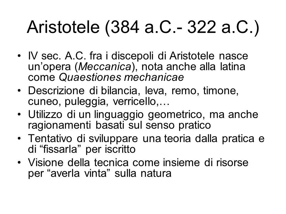 Aristotele (384 a.C.- 322 a.C.) IV sec. A.C. fra i discepoli di Aristotele nasce unopera (Meccanica), nota anche alla latina come Quaestiones mechanic
