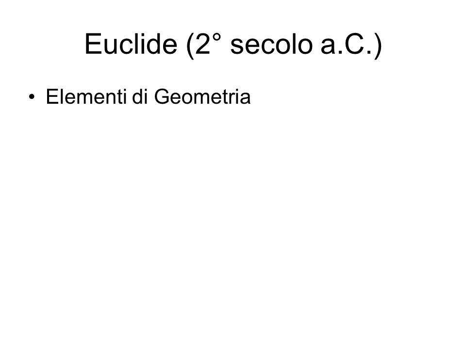 Euclide (2° secolo a.C.) Elementi di Geometria