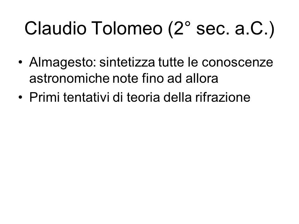 Claudio Tolomeo (2° sec. a.C.) Almagesto: sintetizza tutte le conoscenze astronomiche note fino ad allora Primi tentativi di teoria della rifrazione
