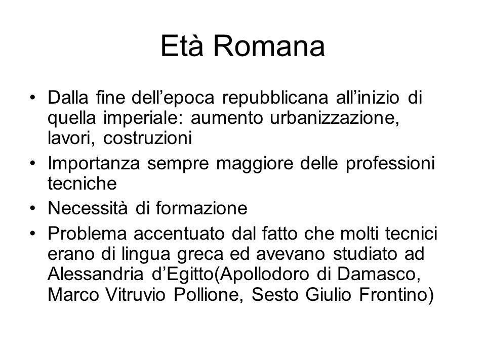 Età Romana Dalla fine dellepoca repubblicana allinizio di quella imperiale: aumento urbanizzazione, lavori, costruzioni Importanza sempre maggiore del