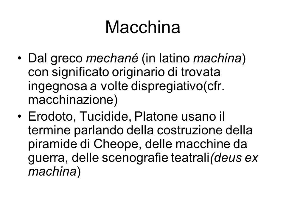 Macchina Dal greco mechané (in latino machina) con significato originario di trovata ingegnosa a volte dispregiativo(cfr. macchinazione) Erodoto, Tuci