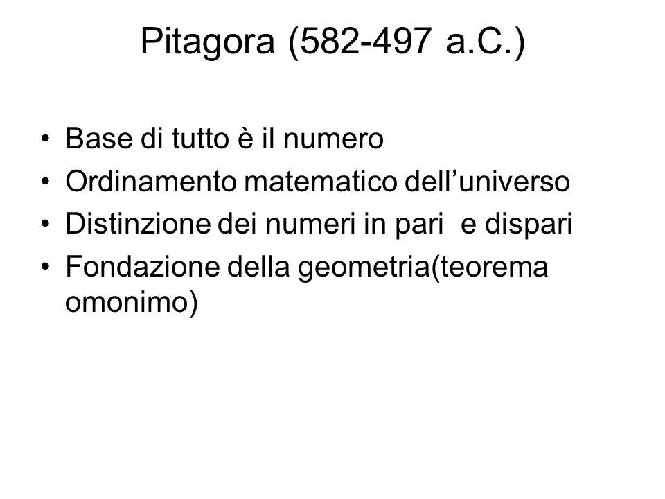 Pitagora (582-497 a.C.) Base di tutto è il numero Ordinamento matematico delluniverso Distinzione dei numeri in pari e dispari Fondazione della geomet