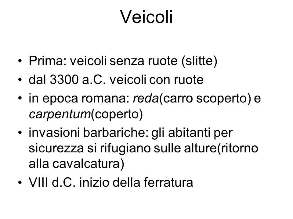 Veicoli Prima: veicoli senza ruote (slitte) dal 3300 a.C. veicoli con ruote in epoca romana: reda(carro scoperto) e carpentum(coperto) invasioni barba