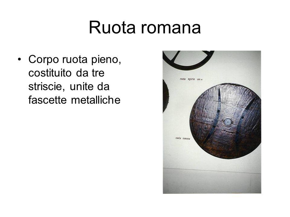 Ruota romana Corpo ruota pieno, costituito da tre striscie, unite da fascette metalliche