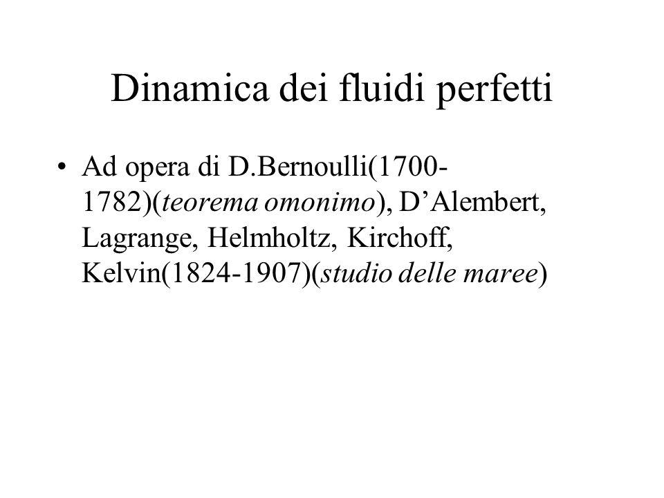 Dinamica dei fluidi perfetti Ad opera di D.Bernoulli(1700- 1782)(teorema omonimo), DAlembert, Lagrange, Helmholtz, Kirchoff, Kelvin(1824-1907)(studio
