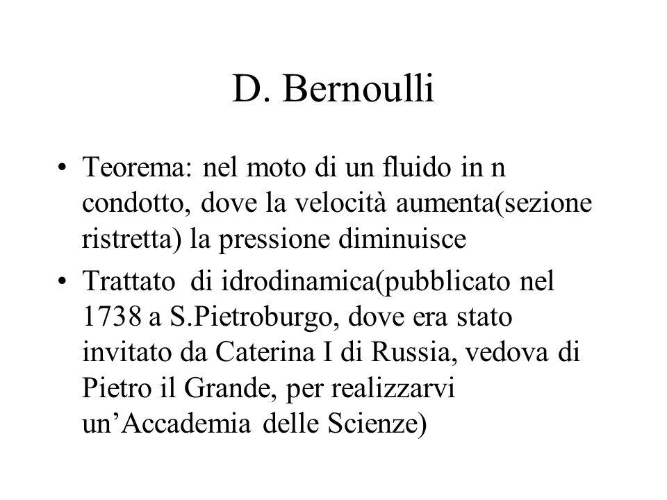 D. Bernoulli Teorema: nel moto di un fluido in n condotto, dove la velocità aumenta(sezione ristretta) la pressione diminuisce Trattato di idrodinamic