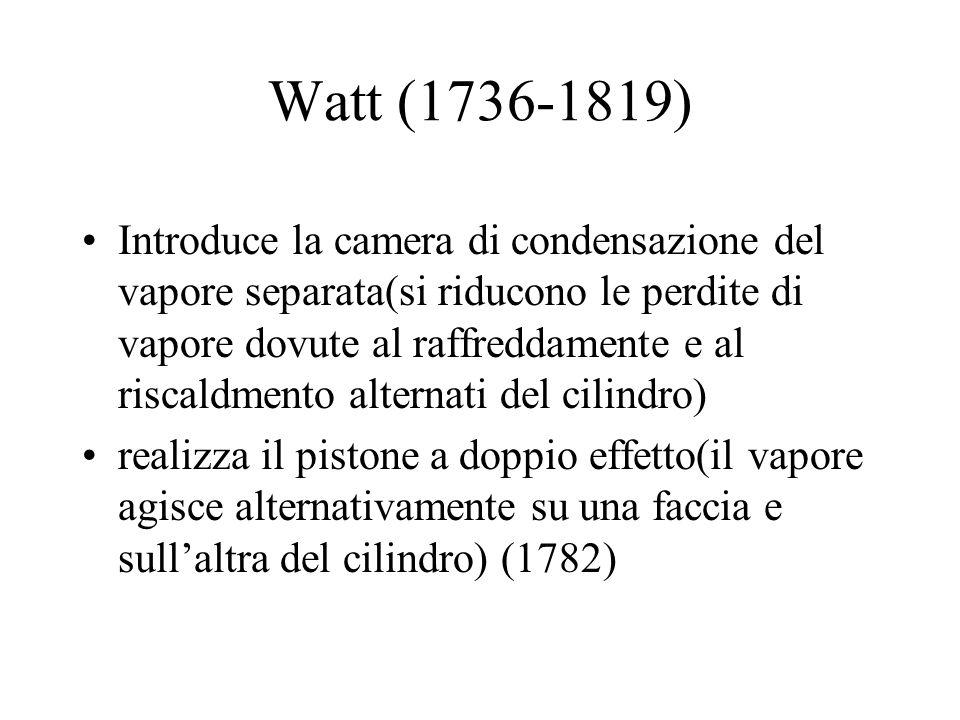 Watt (1736-1819) Introduce la camera di condensazione del vapore separata(si riducono le perdite di vapore dovute al raffreddamente e al riscaldmento