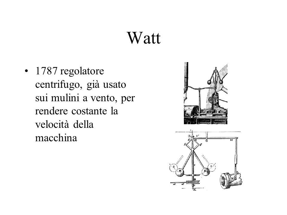 Watt 1787 regolatore centrifugo, già usato sui mulini a vento, per rendere costante la velocità della macchina