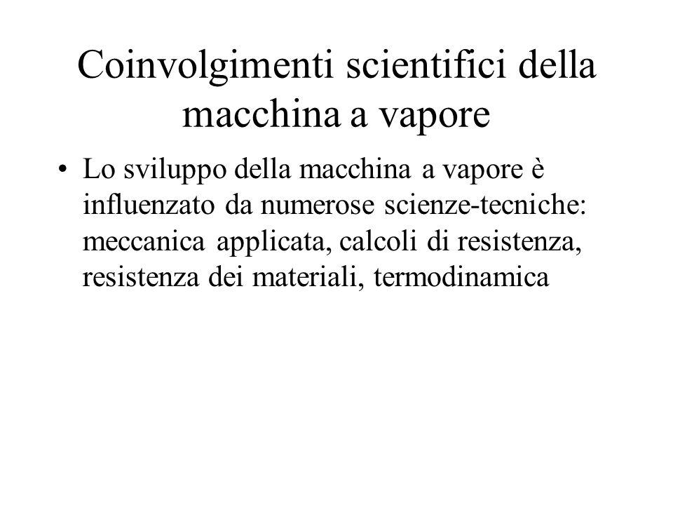 Coinvolgimenti scientifici della macchina a vapore Lo sviluppo della macchina a vapore è influenzato da numerose scienze-tecniche: meccanica applicata