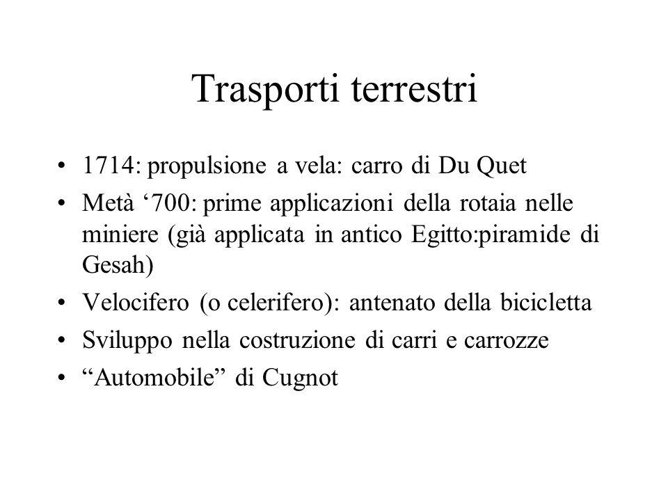 Trasporti terrestri 1714: propulsione a vela: carro di Du Quet Metà 700: prime applicazioni della rotaia nelle miniere (già applicata in antico Egitto