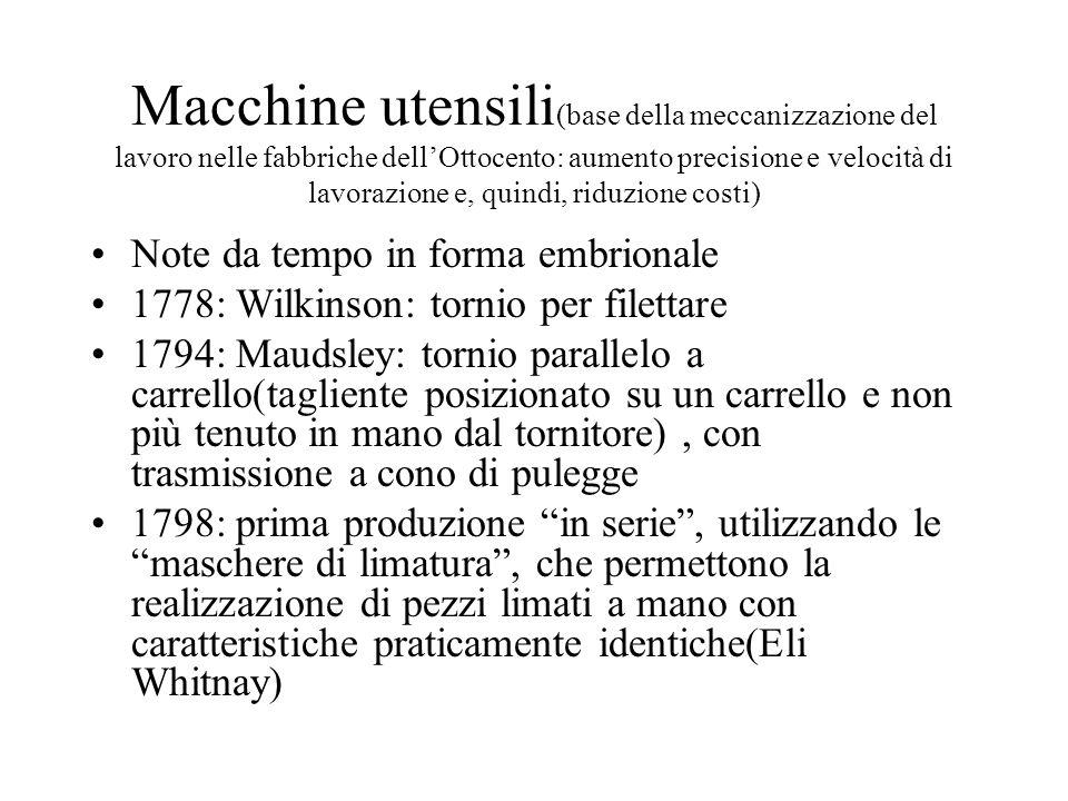 Macchine utensili (base della meccanizzazione del lavoro nelle fabbriche dellOttocento: aumento precisione e velocità di lavorazione e, quindi, riduzi