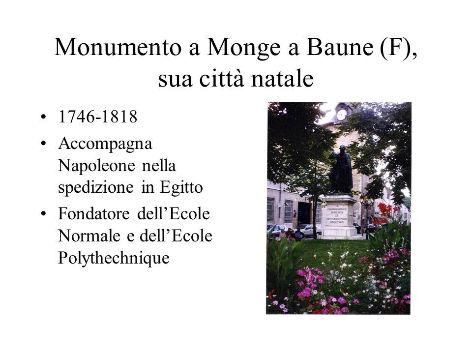 Monumento a Monge a Baune (F), sua città natale 1746-1818 Accompagna Napoleone nella spedizione in Egitto Fondatore dellEcole Normale e dellEcole Poly