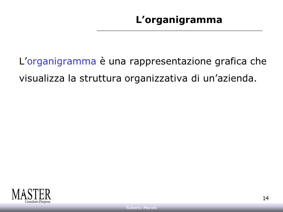 Annarita Gelasio Roberto Moroni 14 Lorganigramma è una rappresentazione grafica che visualizza la struttura organizzativa di unazienda. Lorganigramma