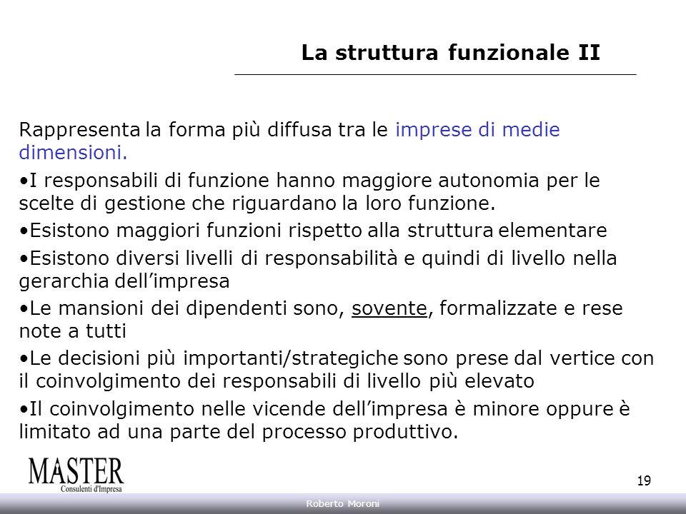 Annarita Gelasio Roberto Moroni 19 La struttura funzionale II Rappresenta la forma più diffusa tra le imprese di medie dimensioni. I responsabili di f