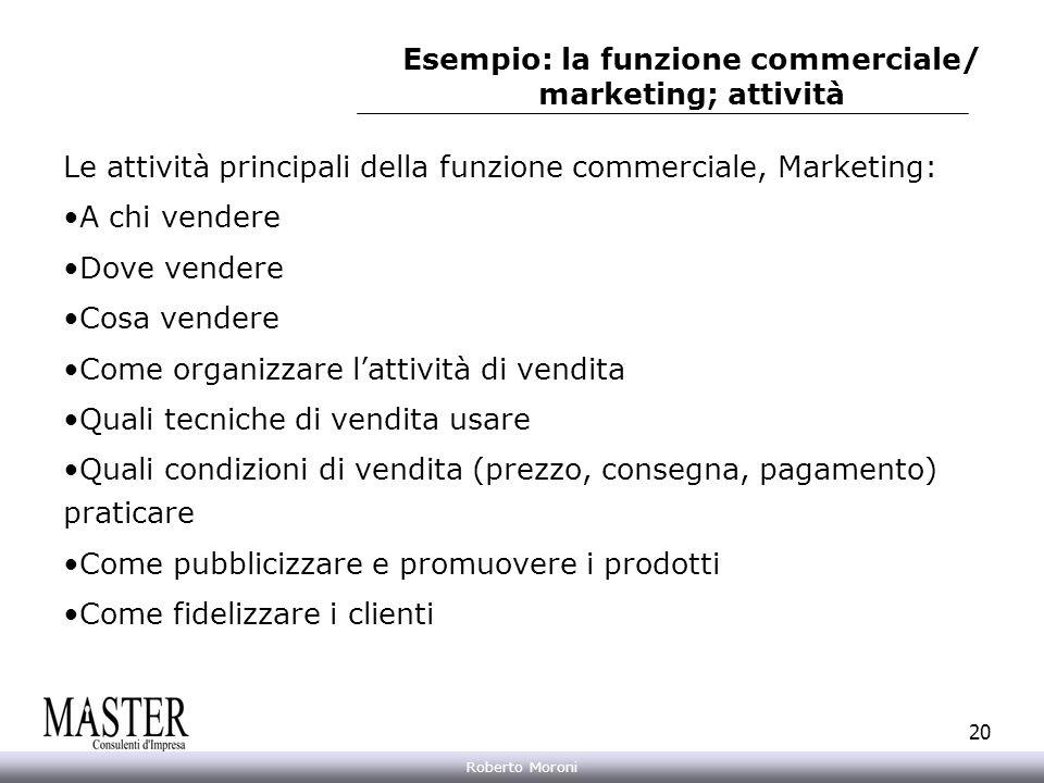 Annarita Gelasio Roberto Moroni 20 Esempio: la funzione commerciale/ marketing; attività Le attività principali della funzione commerciale, Marketing: