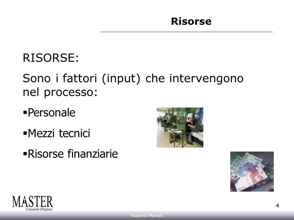 Annarita Gelasio Roberto Moroni 4 Risorse RISORSE: Sono i fattori (input) che intervengono nel processo: Personale Mezzi tecnici Risorse finanziarie