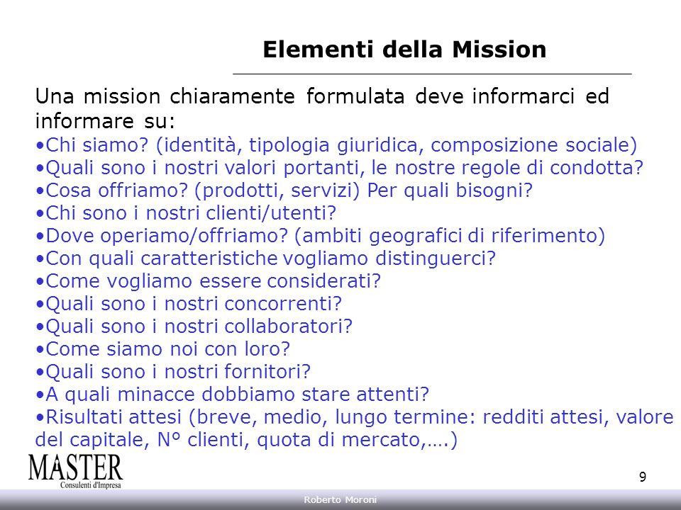 Annarita Gelasio Roberto Moroni 9 Elementi della Mission Una mission chiaramente formulata deve informarci ed informare su: Chi siamo? (identità, tipo