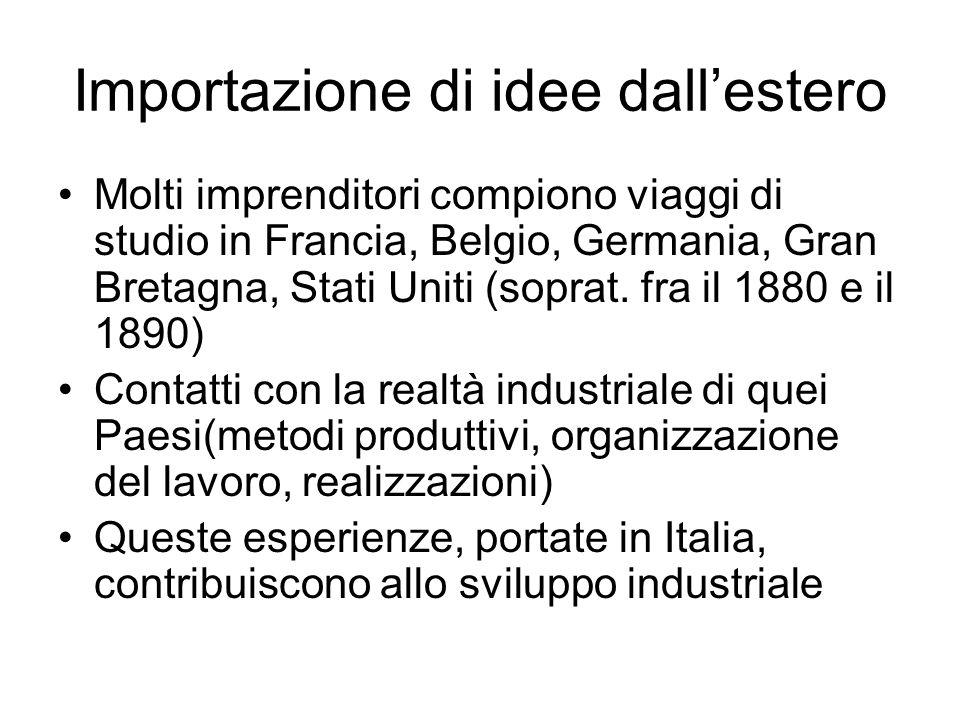 Importazione di idee dallestero Molti imprenditori compiono viaggi di studio in Francia, Belgio, Germania, Gran Bretagna, Stati Uniti (soprat. fra il