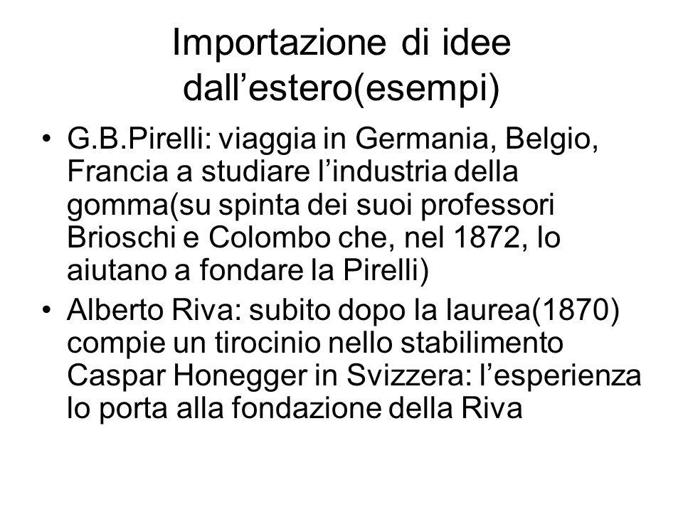 Importazione di idee dallestero(esempi) G.B.Pirelli: viaggia in Germania, Belgio, Francia a studiare lindustria della gomma(su spinta dei suoi profess