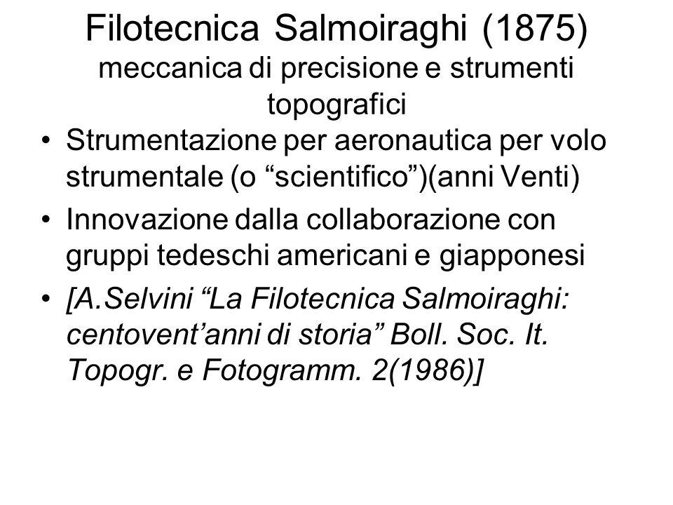 Filotecnica Salmoiraghi (1875) meccanica di precisione e strumenti topografici Strumentazione per aeronautica per volo strumentale (o scientifico)(ann