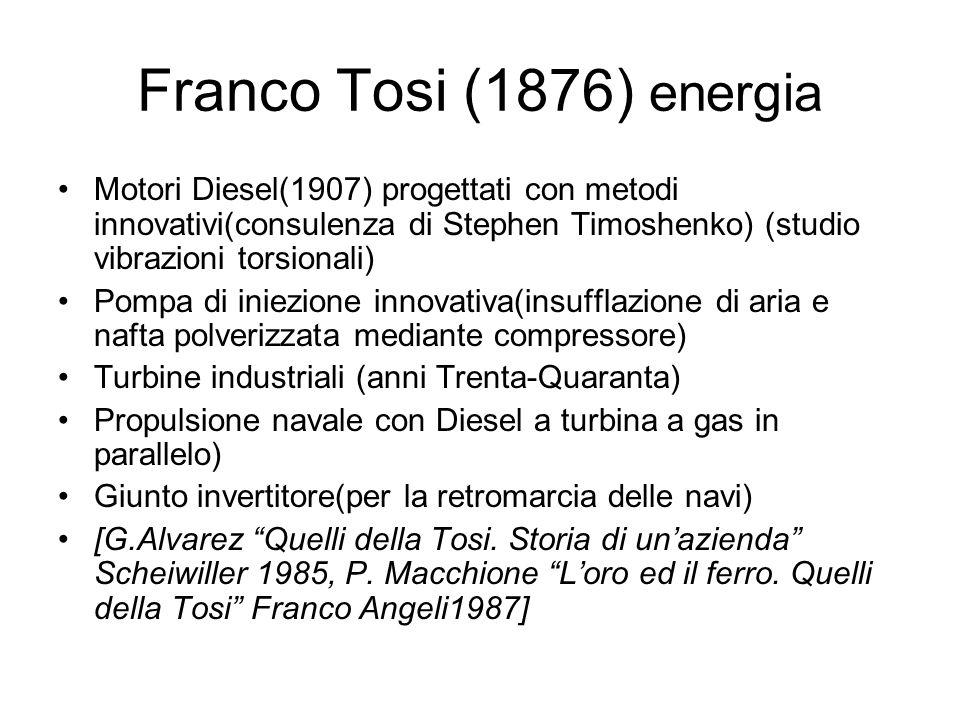 Franco Tosi (1876) energia Motori Diesel(1907) progettati con metodi innovativi(consulenza di Stephen Timoshenko) (studio vibrazioni torsionali) Pompa