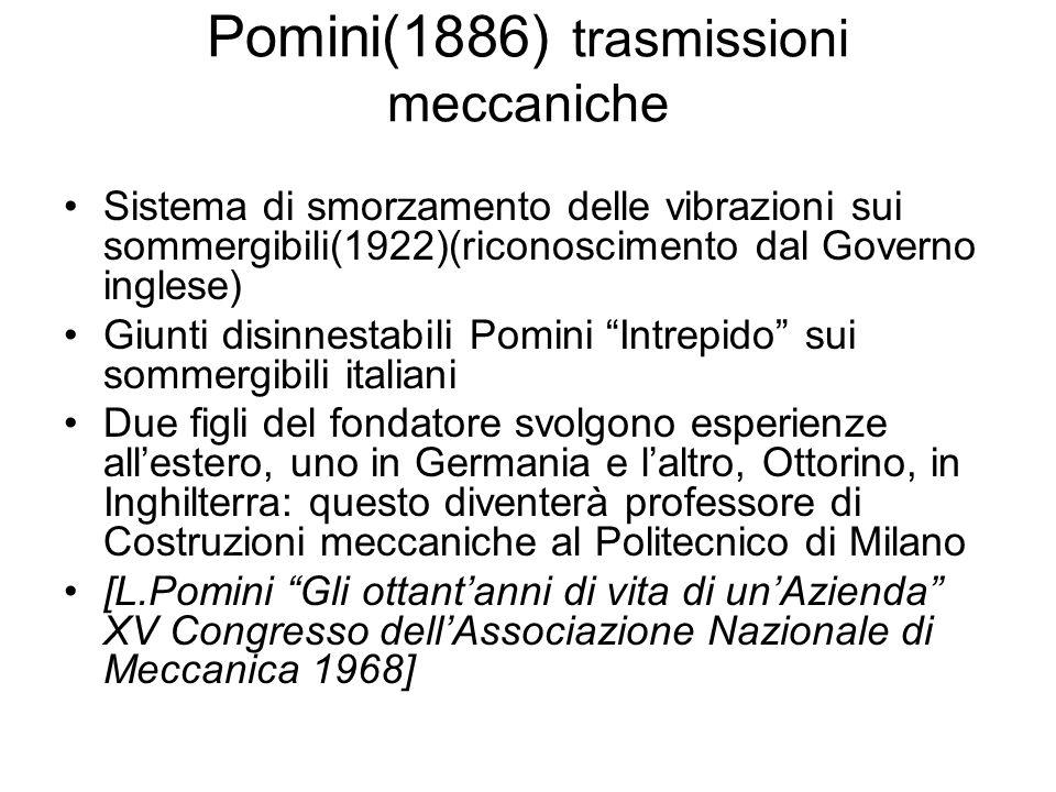 Pomini(1886) trasmissioni meccaniche Sistema di smorzamento delle vibrazioni sui sommergibili(1922)(riconoscimento dal Governo inglese) Giunti disinne