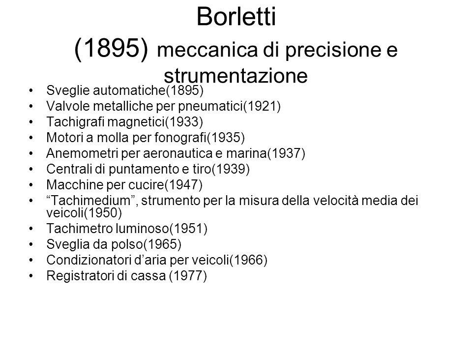 Borletti (1895) meccanica di precisione e strumentazione Sveglie automatiche(1895) Valvole metalliche per pneumatici(1921) Tachigrafi magnetici(1933)
