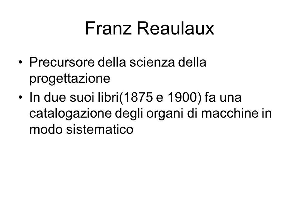Franz Reaulaux Precursore della scienza della progettazione In due suoi libri(1875 e 1900) fa una catalogazione degli organi di macchine in modo siste