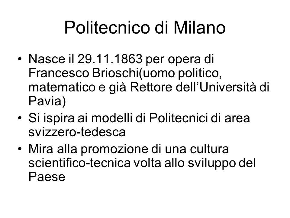Politecnico di Milano Nasce il 29.11.1863 per opera di Francesco Brioschi(uomo politico, matematico e già Rettore dellUniversità di Pavia) Si ispira a